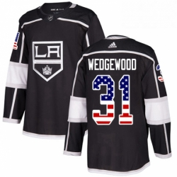 Mens Adidas Los Angeles Kings 31 Scott Wedgewood Authentic Black USA Flag Fashion NHL Jersey