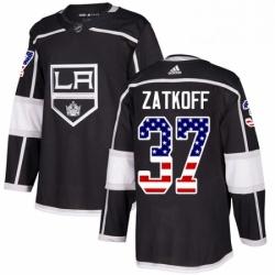 Mens Adidas Los Angeles Kings 37 Jeff Zatkoff Authentic Black USA Flag Fashion NHL Jersey