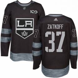 Mens Adidas Los Angeles Kings 37 Jeff Zatkoff Premier Black 1917 2017 100th Anniversary NHL Jersey