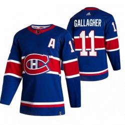 Men Montreal Canadiens 11 Brendan Gallagher Blue Adidas 2020 21 Reverse Retro Alternate NHL Jersey
