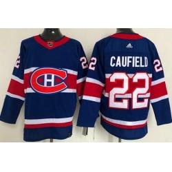 Men Montreal Canadiens 22 Cole Caufield Blue 2021 Reverse Retro Stitched NHL Jersey