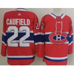 Men Montreal Canadiens 22 Cole Caufield Red Stitched NHL Jersey