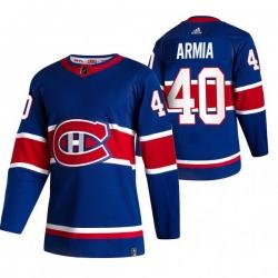 Men Montreal Canadiens 40 Joel Armia Blue Adidas 2020 21 Reverse Retro Alternate NHL Jersey