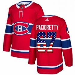 Mens Adidas Montreal Canadiens 67 Max Pacioretty Authentic Red USA Flag Fashion NHL Jersey