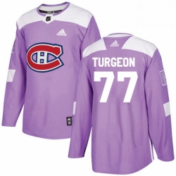 Mens Adidas Montreal Canadiens 77 Pierre Turgeon Authentic Purple Fights Cancer Practice NHL Jersey