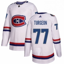 Mens Adidas Montreal Canadiens 77 Pierre Turgeon Authentic White 2017 100 Classic NHL Jersey