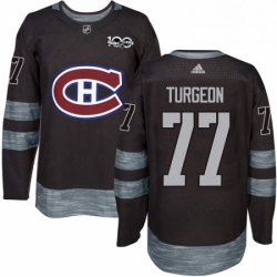 Mens Adidas Montreal Canadiens 77 Pierre Turgeon Premier Black 1917 2017 100th Anniversary NHL Jersey