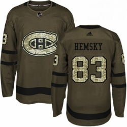 Mens Adidas Montreal Canadiens 83 Ales Hemsky Authentic Green Salute to Service NHL Jersey