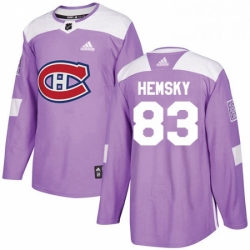 Mens Adidas Montreal Canadiens 83 Ales Hemsky Authentic Purple Fights Cancer Practice NHL Jersey