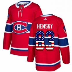 Mens Adidas Montreal Canadiens 83 Ales Hemsky Authentic Red USA Flag Fashion NHL Jersey