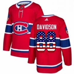Mens Adidas Montreal Canadiens 88 Brandon Davidson Authentic Red USA Flag Fashion NHL Jersey