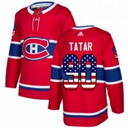 Mens Adidas Montreal Canadiens 90 Tomas Tatar Authentic Red USA Flag Fashion NHL Jersey