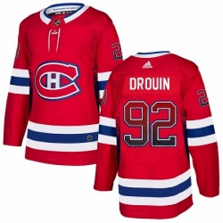 Mens Adidas Montreal Canadiens 92 Jonathan Drouin Authentic Red Drift Fashion NHL Jersey