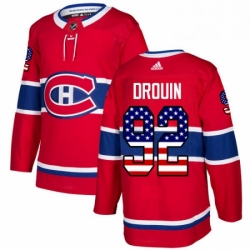 Mens Adidas Montreal Canadiens 92 Jonathan Drouin Authentic Red USA Flag Fashion NHL Jersey