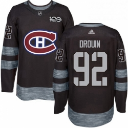 Mens Adidas Montreal Canadiens 92 Jonathan Drouin Premier Black 1917 2017 100th Anniversary NHL Jersey