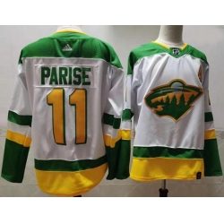 Men Minnesota Wild 11 Zach Parise White 2020 21 Reverse Retro Adidas Jersey