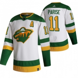 Men Minnesota Wild 11 Zach Parise White Adidas 2020 21 Reverse Retro Alternate NHL Jersey