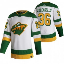 Men Minnesota Wild 36 Mats Zuccarello White Adidas 2020 21 Reverse Retro Alternate NHL Jersey