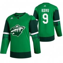 Men Minnesota Wild 9 Mikko Koivu Green 2020 Adidas Jersey