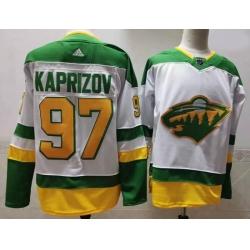 Men Minnesota Wild 97 Kirill Kaprizov White 2020 21 Reverse Retro Adidas Jersey