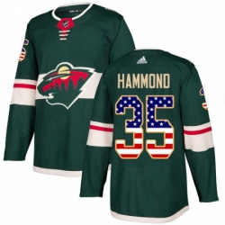 Mens Adidas Minnesota Wild 35 Andrew Hammond Authentic Green USA Flag Fashion NHL Jersey