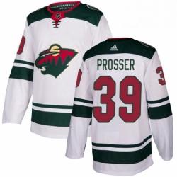 Mens Adidas Minnesota Wild 39 Nate Prosser Authentic White Away NHL Jersey