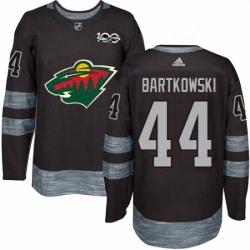 Mens Adidas Minnesota Wild 44 Matt Bartkowski Authentic Black 1917 2017 100th Anniversary NHL Jersey