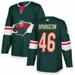Mens Adidas Minnesota Wild 46 JaGreen Spurgeon Authentic Green Home NHL Jersey