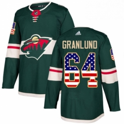 Mens Adidas Minnesota Wild 64 Mikael Granlund Authentic Green USA Flag Fashion NHL Jersey