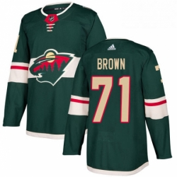 Mens Adidas Minnesota Wild 71 J T Brown Authentic Green Home NHL Jerse