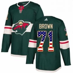Mens Adidas Minnesota Wild 71 J T Brown Authentic Green USA Flag Fashion NHL Jerse