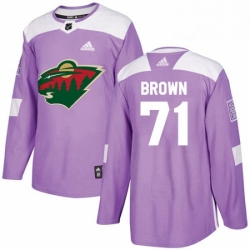 Mens Adidas Minnesota Wild 71 J T Brown Authentic Purple Fights Cancer Practice NHL Jerse