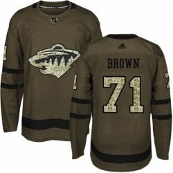 Mens Adidas Minnesota Wild 71 J T Brown Premier Green Salute to Service NHL Jerse