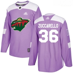 Wild #36 Mats Zuccarello Purple Authentic Fights Cancer Stitched Hockey Jersey