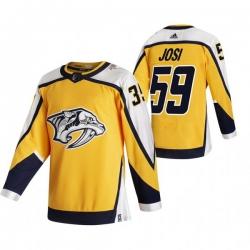 Men Nashville Predators 59 Roman Josi Yellow Adidas 2020 21 Reverse Retro Alternate NHL Jersey