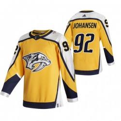 Men Nashville Predators 92 Ryan Johansen Yellow Adidas 2020 21 Reverse Retro Alternate NHL Jersey