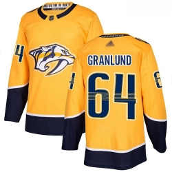 Predators #64 Mikael Granlund Yellow Home Authentic Stitched Hockey Jersey