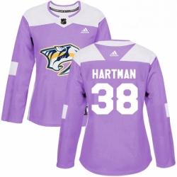 Womens Adidas Nashville Predators 38 Ryan Hartman Authentic Purple Fights Cancer Practice NHL Jersey
