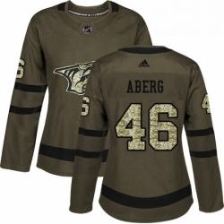 Womens Adidas Nashville Predators 46 Pontus Aberg Authentic Green Salute to Service NHL Jersey