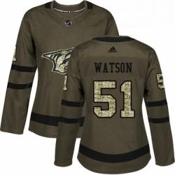 Womens Adidas Nashville Predators 51 Austin Watson Authentic Green Salute to Service NHL Jersey