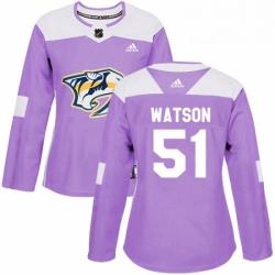 Womens Adidas Nashville Predators 51 Austin Watson Authentic Purple Fights Cancer Practice NHL Jersey