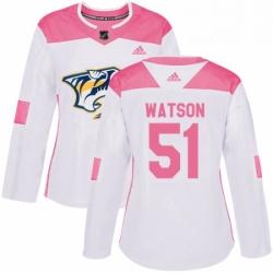 Womens Adidas Nashville Predators 51 Austin Watson Authentic WhitePink Fashion NHL Jersey