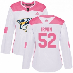 Womens Adidas Nashville Predators 52 Matt Irwin Authentic WhitePink Fashion NHL Jersey