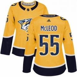 Womens Adidas Nashville Predators 55 Cody McLeod Authentic Gold Home NHL Jersey