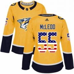 Womens Adidas Nashville Predators 55 Cody McLeod Authentic Gold USA Flag Fashion NHL Jersey