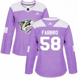 Womens Adidas Nashville Predators 58 Dante Fabbro Authentic Purple Fights Cancer Practice NHL Jersey