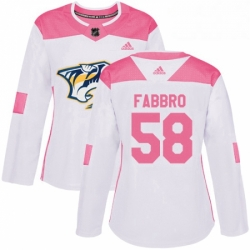 Womens Adidas Nashville Predators 58 Dante Fabbro Authentic WhitePink Fashion NHL Jersey