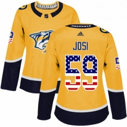 Womens Adidas Nashville Predators 59 Roman Josi Authentic Gold USA Flag Fashion NHL Jersey