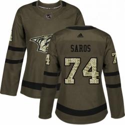 Womens Adidas Nashville Predators 74 Juuse Saros Authentic Green Salute to Service NHL Jersey