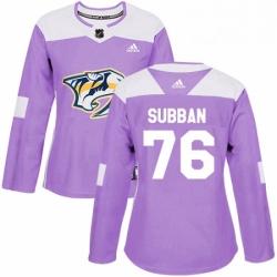Womens Adidas Nashville Predators 76 PK Subban Authentic Purple Fights Cancer Practice NHL Jersey
